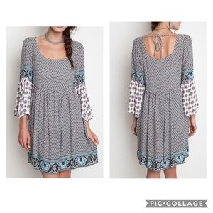 Umgee Bohemian Fall Peasant Dress Loose Sleeves